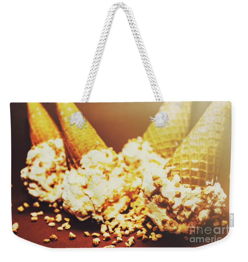 Dairy Weekender Tote Bag featuring the photograph Four Artistic Ice-cream Cones by Jorgo Photography - Wall Art Gallery