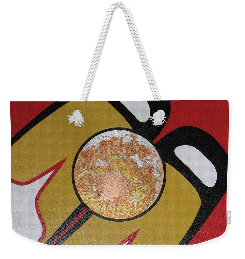 Abstract Weekender Tote Bag featuring the painting Four Corners - Haida by Elaine Booth-Kallweit