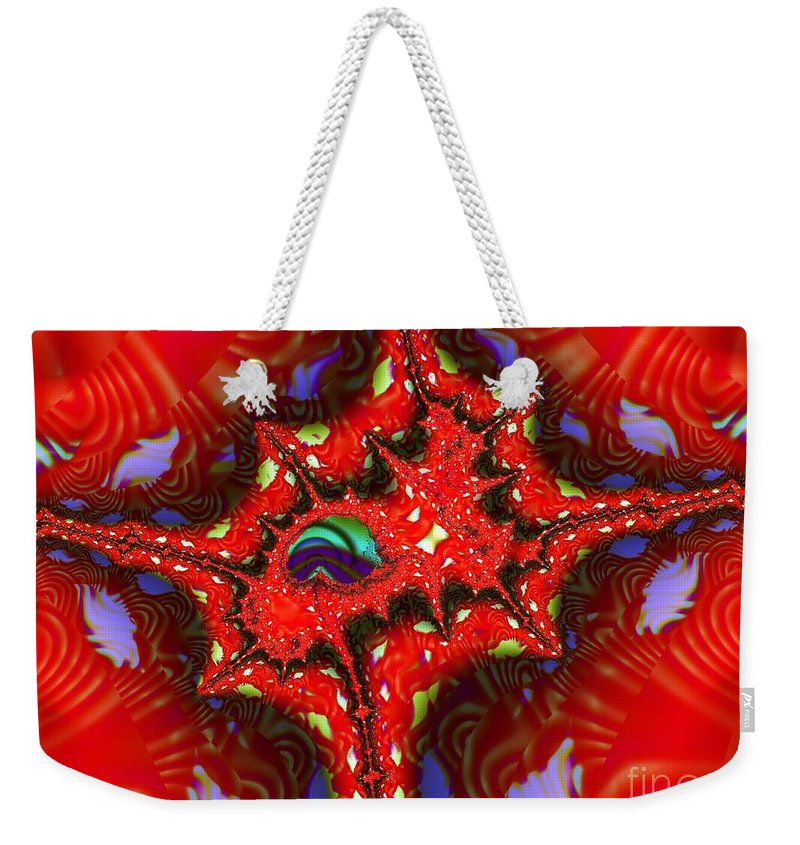 Four Corners Weekender Tote Bag featuring the digital art Four Corners Seed Pod by Ron Bissett