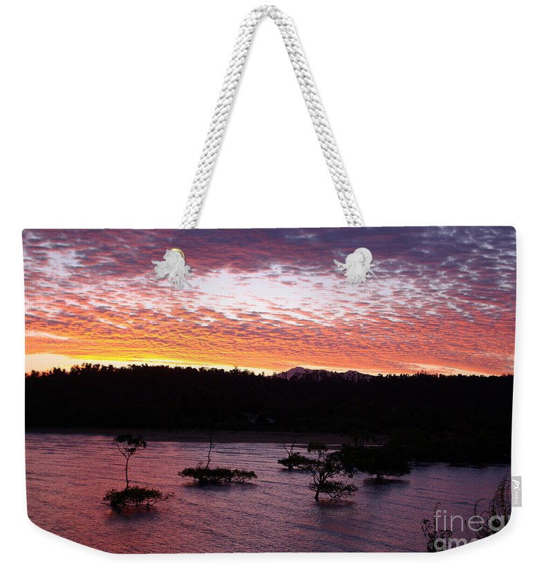 Landscape Weekender Tote Bag featuring the photograph Four Elements Sunset Sequence 3 Coconuts Qld by Kerryn Madsen - Pietsch