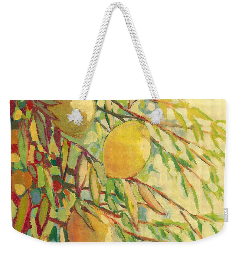 Lemon Weekender Tote Bag featuring the painting Four Lemons by Jennifer Lommers