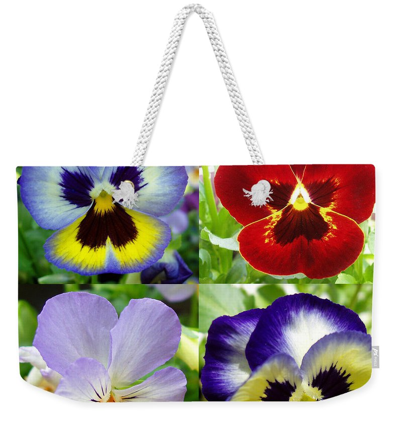 Pansy Weekender Tote Bag featuring the photograph Four Pansies by Nancy Mueller