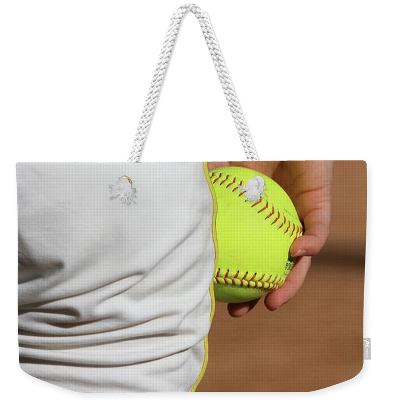 Softball Weekender Tote Bag featuring the photograph Four Seam by Laddie Halupa