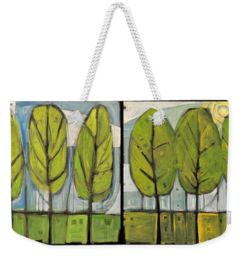 Trees Weekender Tote Bag featuring the painting Four Seasons Tree Series by Tim Nyberg