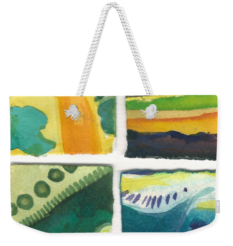 Abstract Weekender Tote Bag featuring the painting Four Squares Fish Tail by Cynthia Conklin