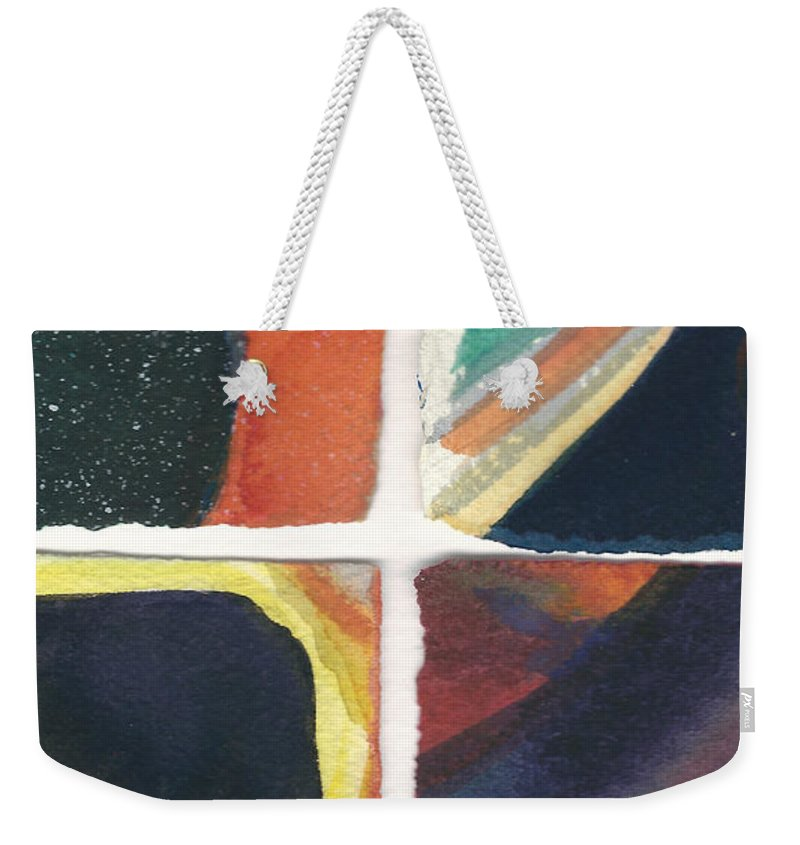 Abstract Weekender Tote Bag featuring the painting Four Squares Orange Slash by Cynthia Conklin