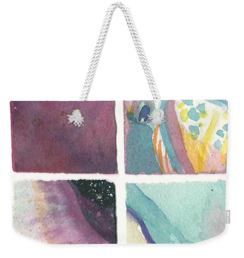 Abstract Weekender Tote Bag featuring the painting Four Squares Pastelisa by Cynthia Conklin