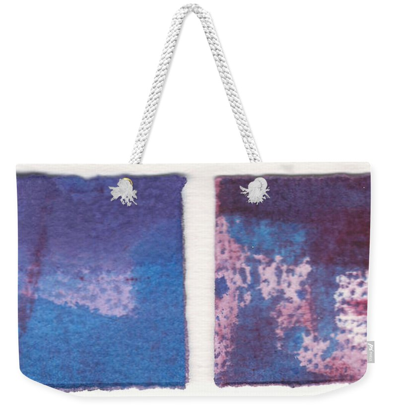 Abstract Weekender Tote Bag featuring the painting Four Squares Turquoise Flow by Cynthia Conklin