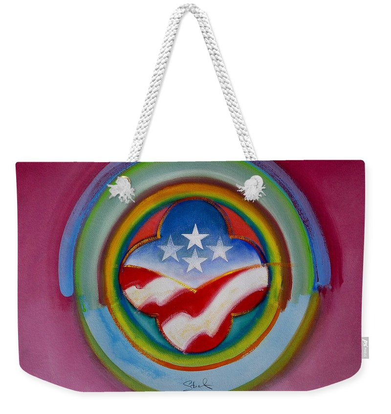 Button Weekender Tote Bag featuring the painting Four Star Button by Charles Stuart