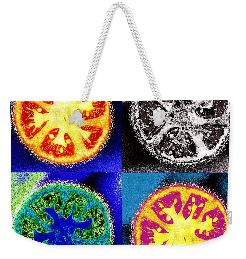 Tomatoes Weekender Tote Bag featuring the photograph Four Tomatoes by Nancy Mueller