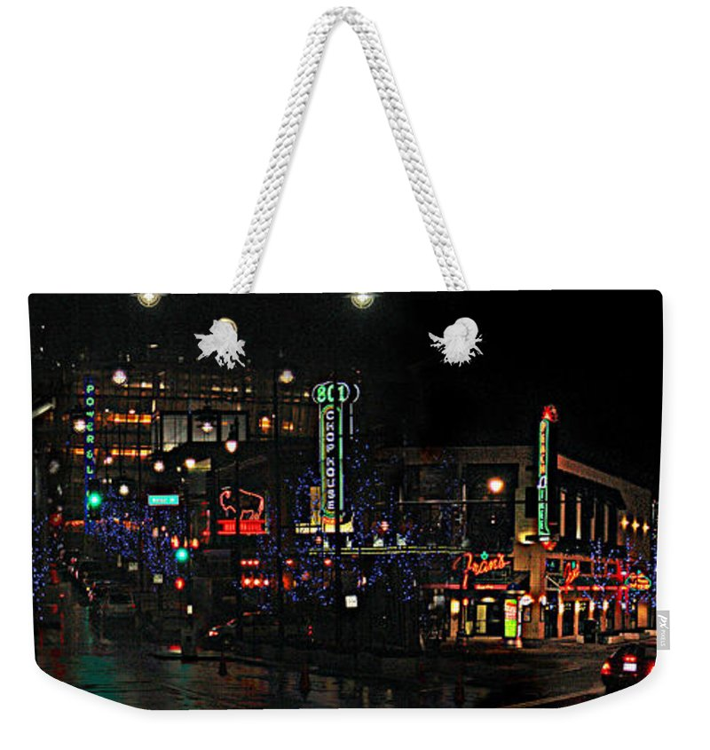 City Scape Weekender Tote Bag featuring the photograph Fourteenth and Main by Steve Karol