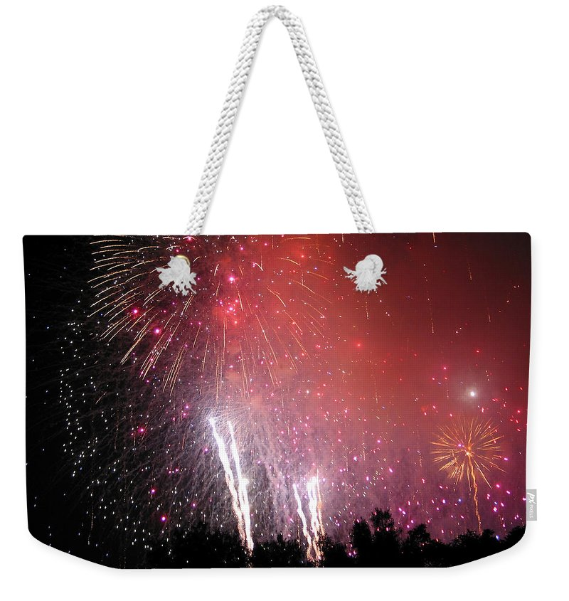 Fireworks Weekender Tote Bag featuring the photograph Fourth Of July by Julie Niemela