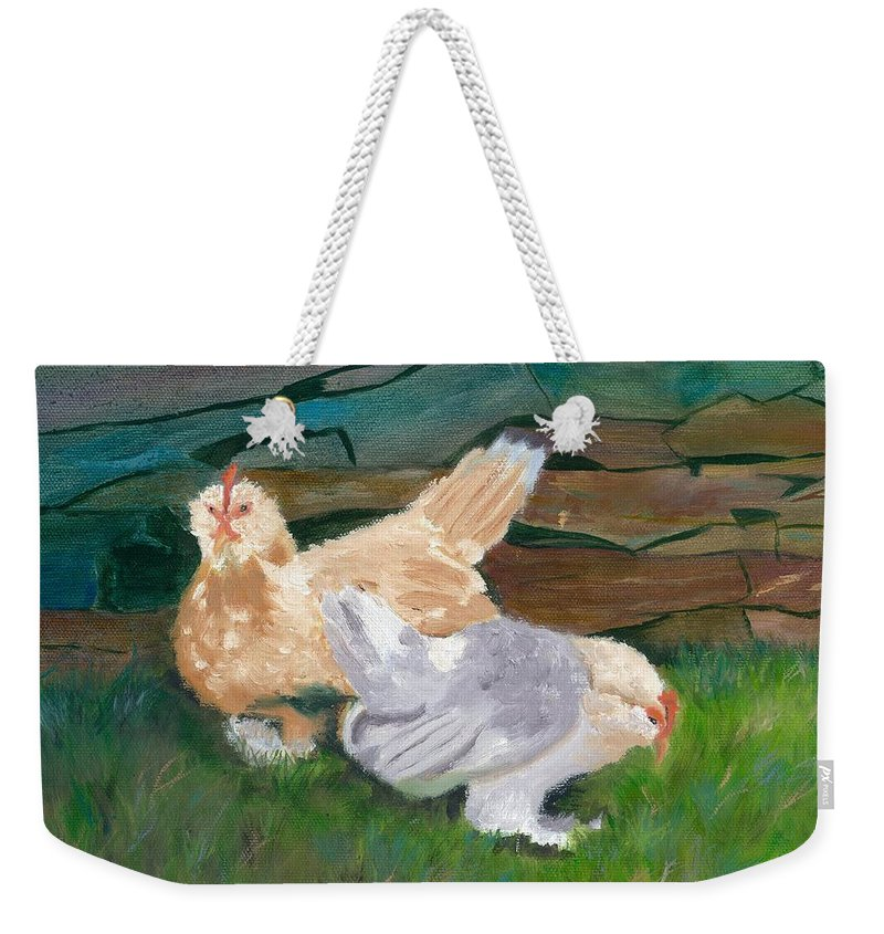 Chickens Bantams Countryside Stonewall Farm Weekender Tote Bag featuring the painting Fowl Play by Paula Emery