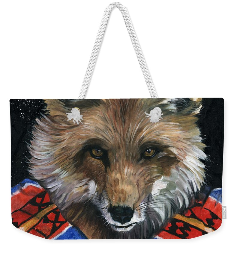 Fox Weekender Tote Bag featuring the painting Fox Medicine by J W Baker