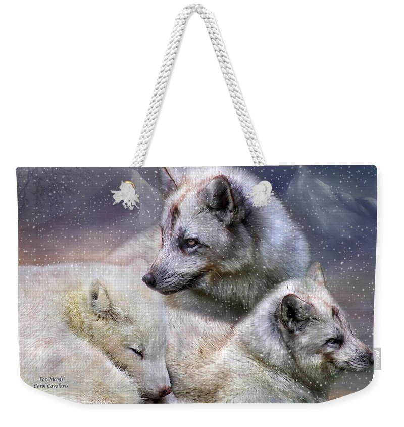 Fox Weekender Tote Bag featuring the mixed media Fox Moods by Carol Cavalaris