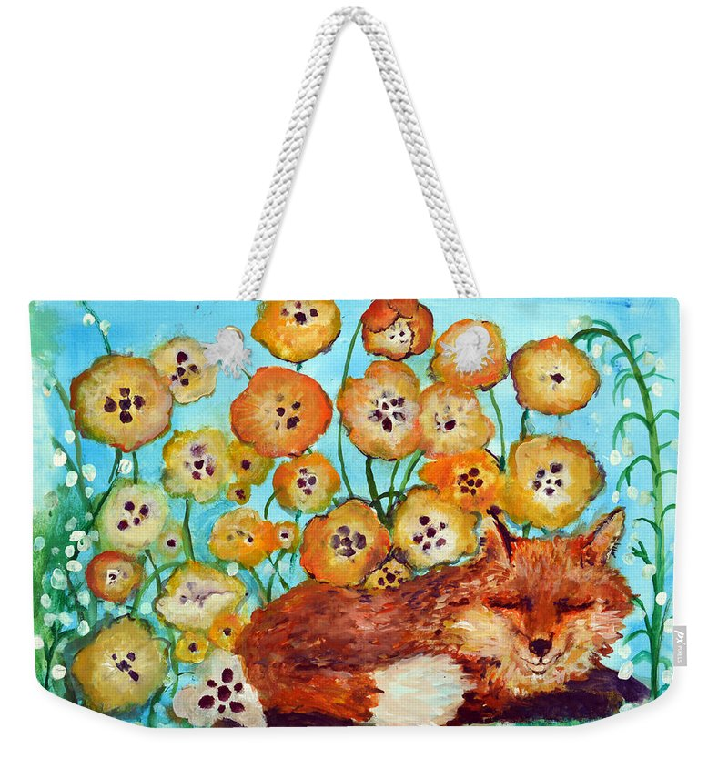 Fox Weekender Tote Bag featuring the painting Fox Says Come And Sit With Me by Ashleigh Dyan Bayer