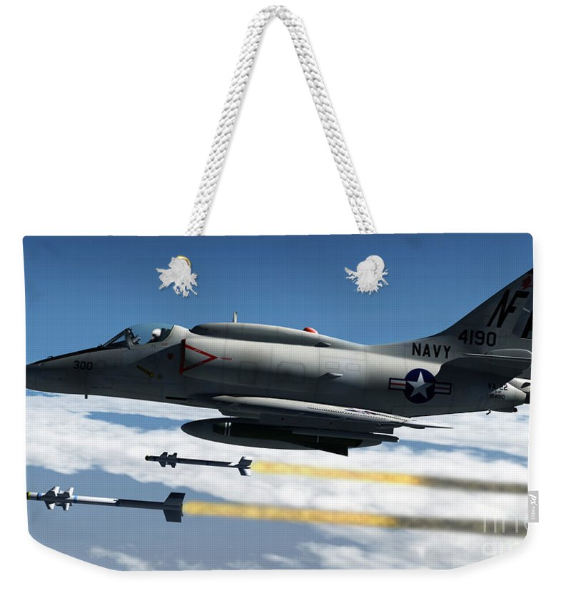 Aviation Weekender Tote Bag featuring the digital art Fox Two by Richard Rizzo