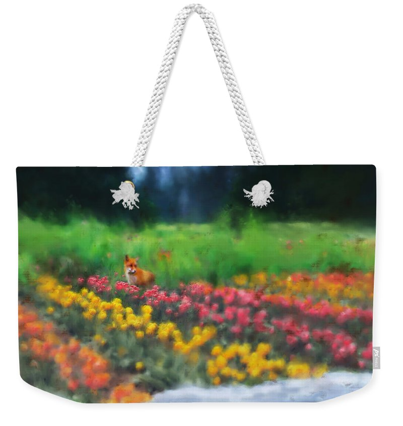 Fox Weekender Tote Bag featuring the digital art Fox Watching The Tulips by Stephen Lucas