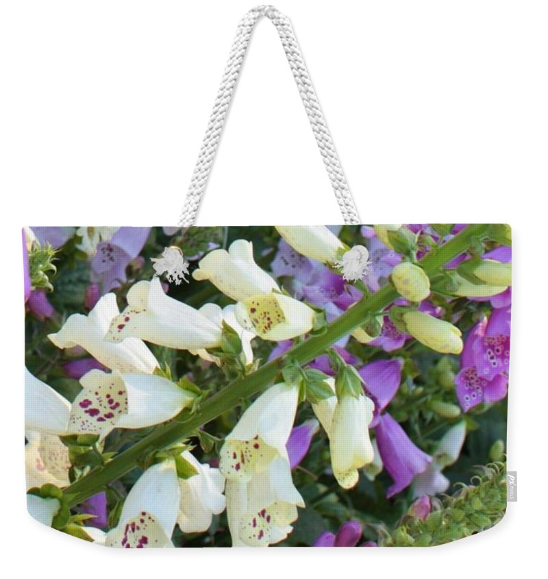 Purple And White Foxglove Weekender Tote Bag featuring the photograph Foxglove Fancy by Carol Groenen
