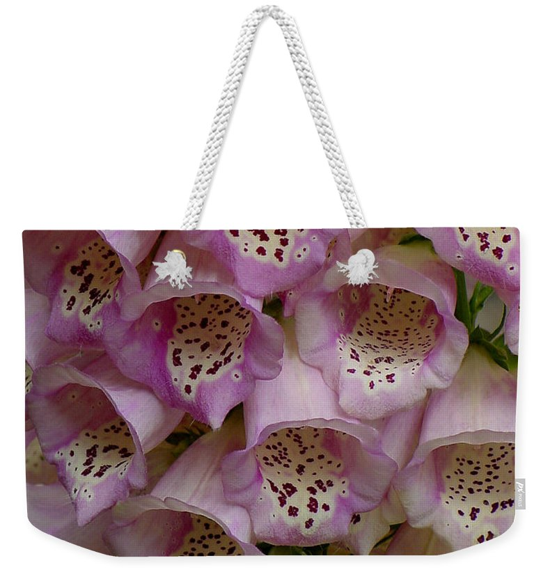 Flower Weekender Tote Bag featuring the photograph Foxglove Upclose by Shirley Heyn