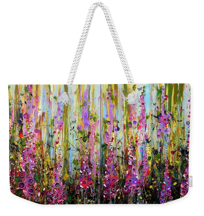Foxgloves Weekender Tote Bag featuring the painting Foxgloves Large Painting by Angie Wright