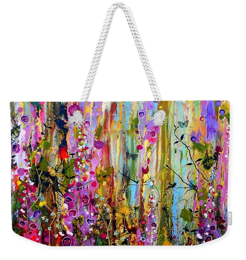 Foxgloves Weekender Tote Bag featuring the painting Foxgloves Panel One by Angie Wright