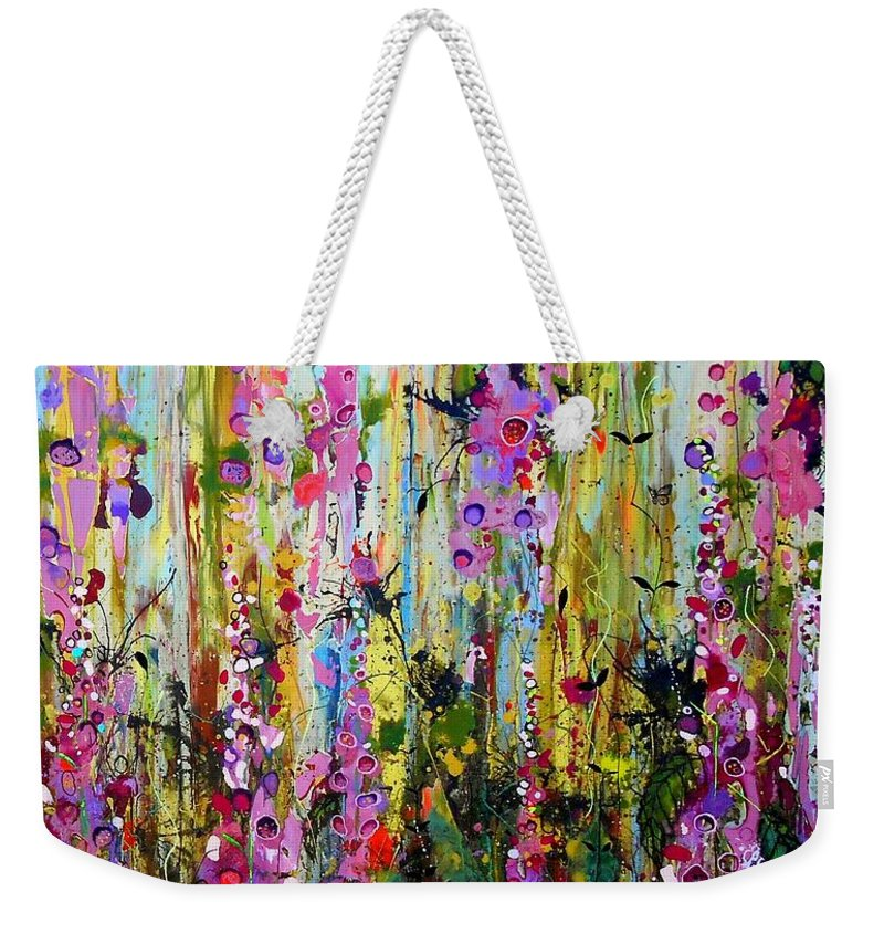 Foxgloves Weekender Tote Bag featuring the painting Foxgloves Panel Two by Angie Wright