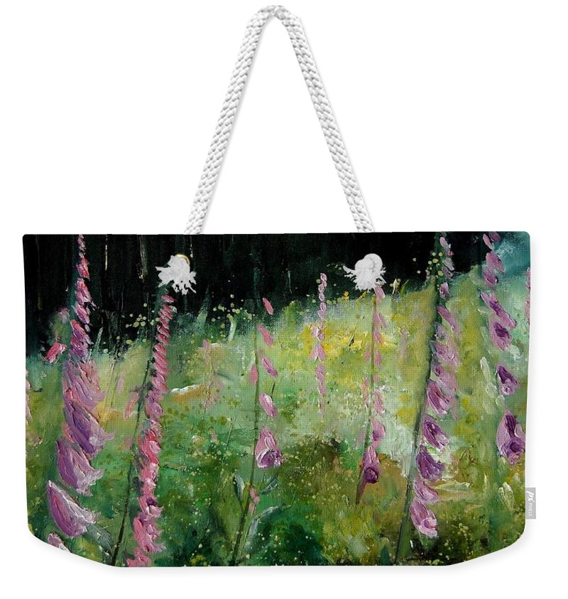 Flowers Weekender Tote Bag featuring the painting Foxgloves by Pol Ledent