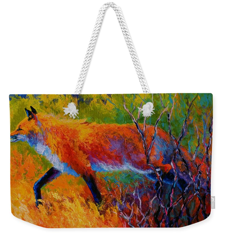Red Fox Weekender Tote Bag featuring the painting Foxy - Red Fox by Marion Rose