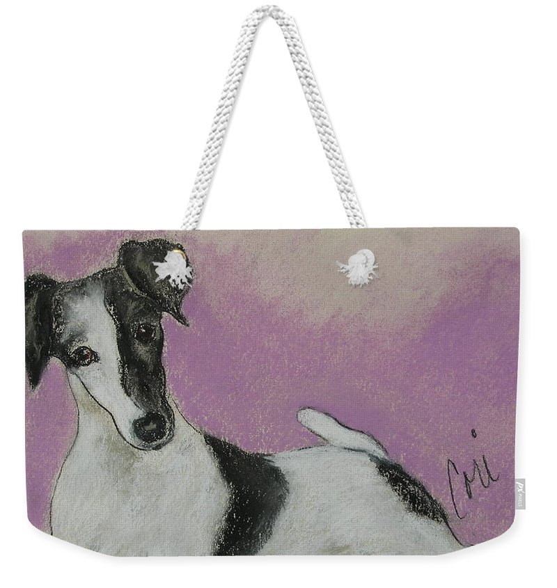 Dog Weekender Tote Bag featuring the drawing Foxy by Cori Solomon