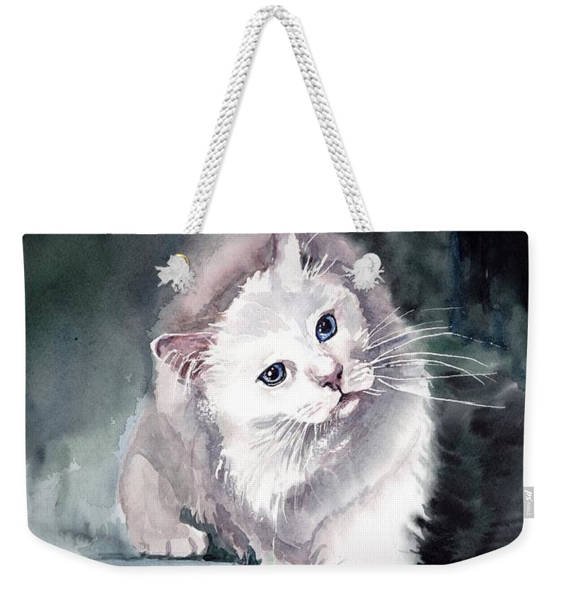 Little Weekender Tote Bag featuring the painting Foxy Lady by Suzann Sines