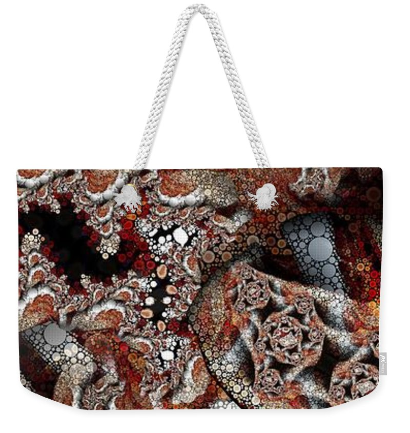 Abstract Weekender Tote Bag featuring the digital art Fraccircle by Ron Bissett