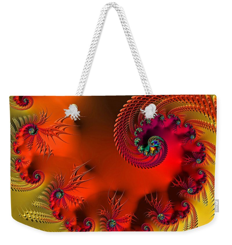 Fractal Weekender Tote Bag featuring the digital art Fractal Art - Breath Of The Dragon by HH Photography of Florida