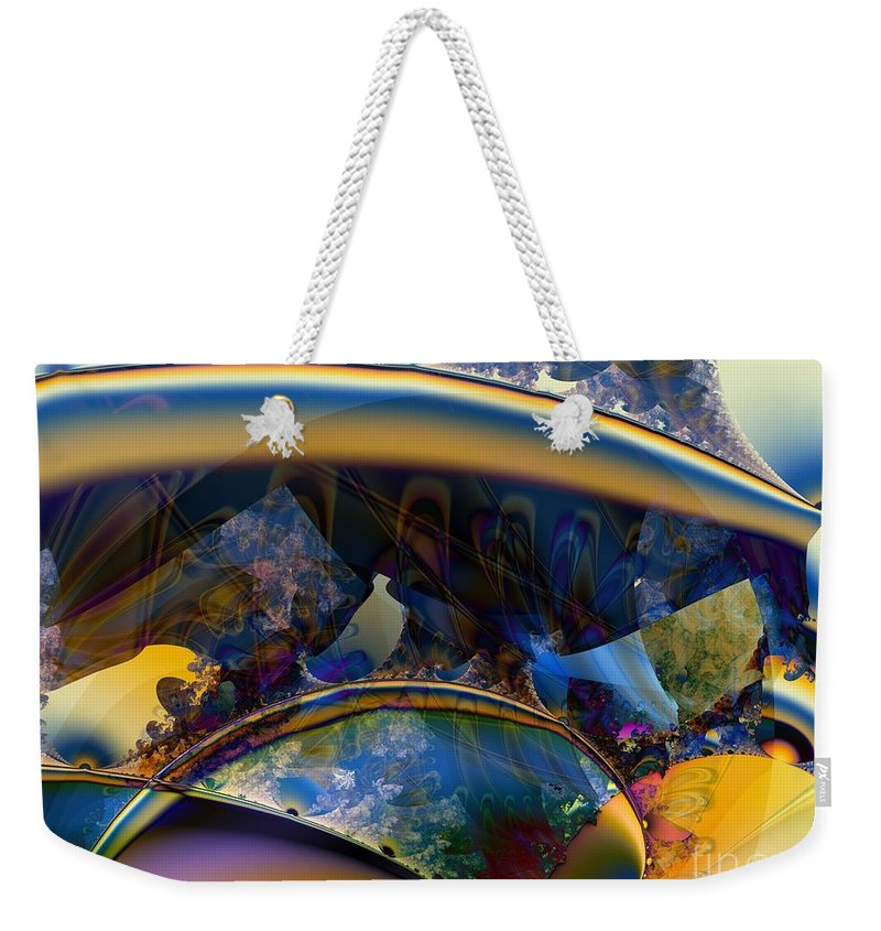 Boomerang Weekender Tote Bag featuring the digital art Fractal Boomerangs And Peacock Feathers by Ron Bissett