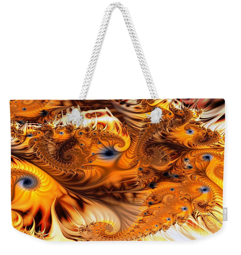 Fractal Weekender Tote Bag featuring the digital art Fractal Citrus by Ron Bissett