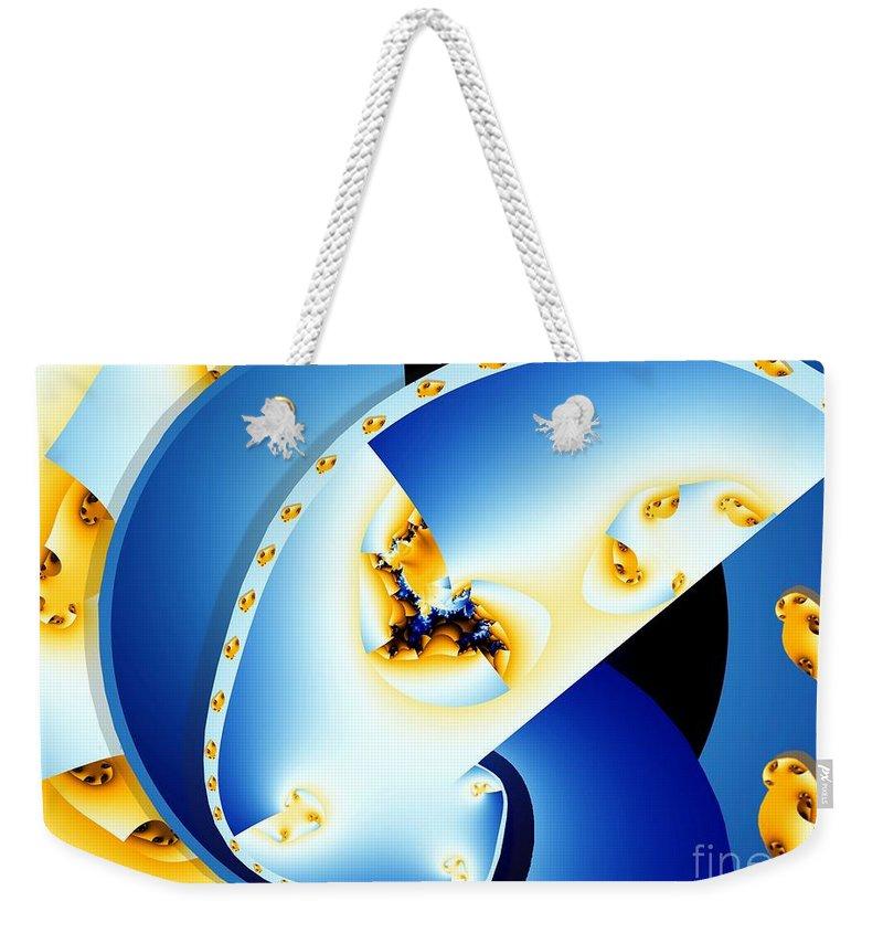 Fractal Weekender Tote Bag featuring the digital art Fractal Construct by Ron Bissett