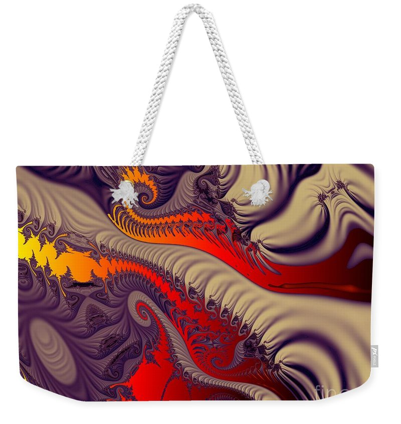 Fractal Art Weekender Tote Bag featuring the digital art Fractal Fill by Ron Bissett
