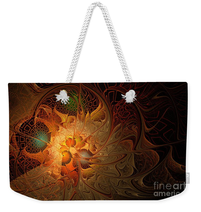 Fractal Weekender Tote Bag featuring the digital art Fractal Flames by Ann Garrett