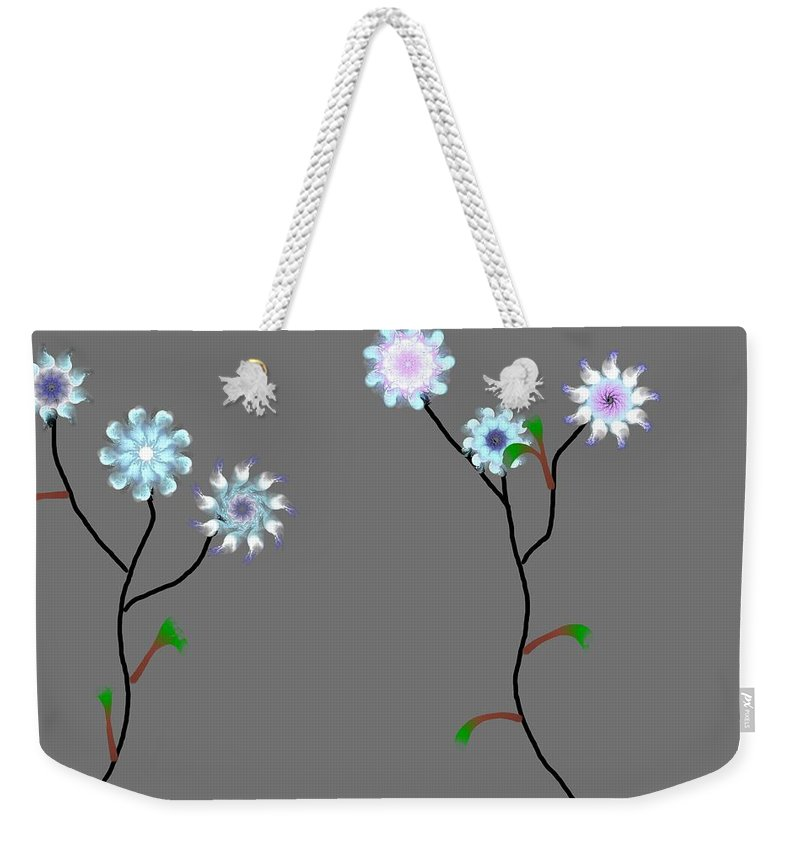 Digital Painting Weekender Tote Bag featuring the digital art Fractal Floral 10-21-09 by David Lane