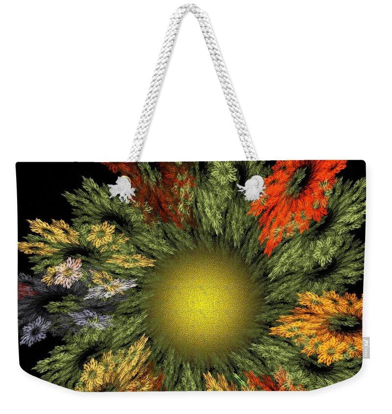 Fantasy Weekender Tote Bag featuring the digital art Fractal Floral 12-05-09 by David Lane