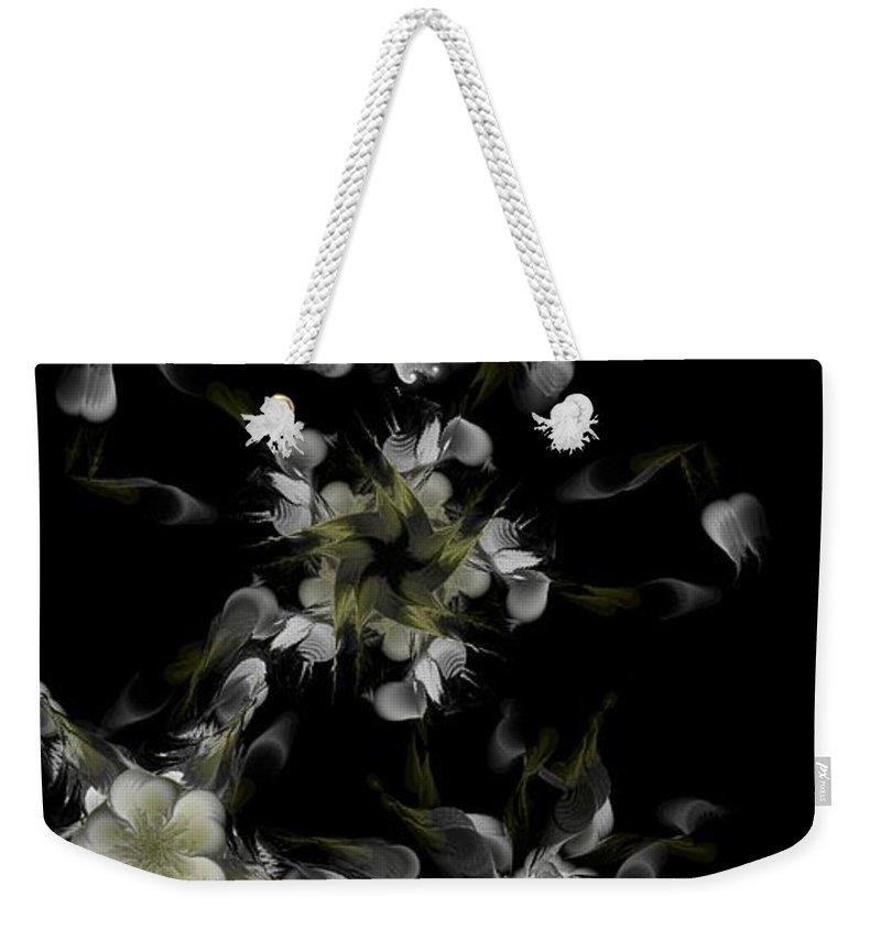 Digital Photograph Weekender Tote Bag featuring the digital art Fractal Floral Pattern Black by David Lane