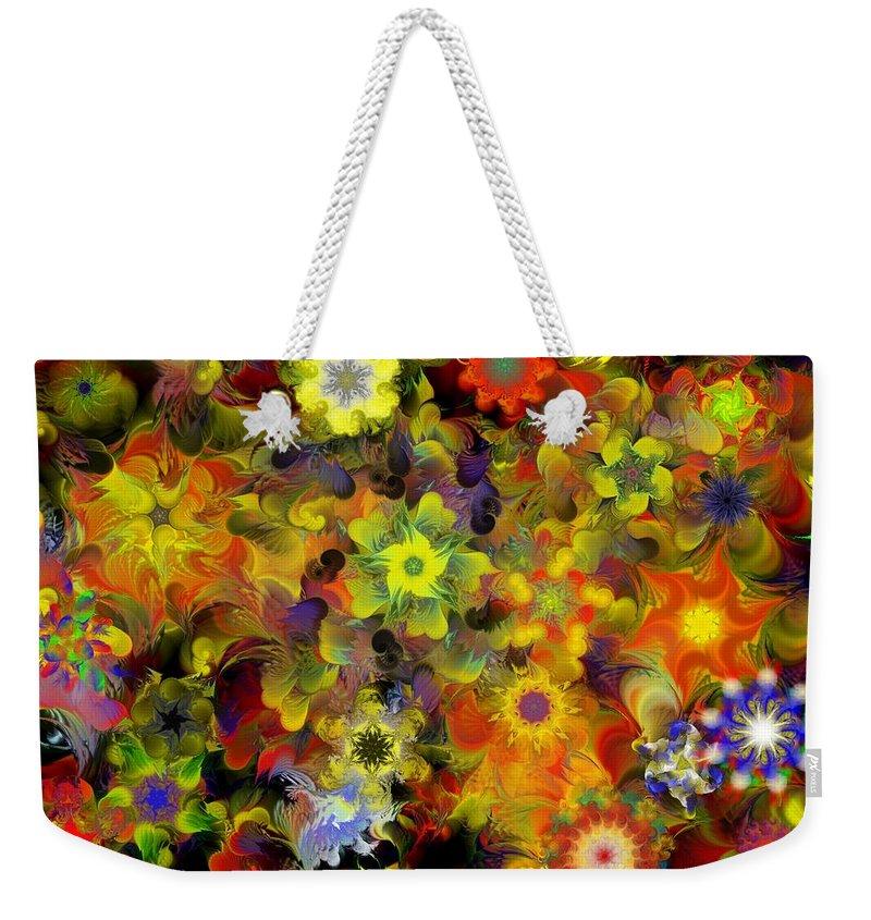 Digital Painting Weekender Tote Bag featuring the digital art Fractal Floral Study 10-27-09 by David Lane