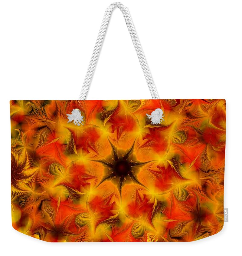 Abstract Digital Painting Weekender Tote Bag featuring the digital art Fractal Garden 6 by David Lane