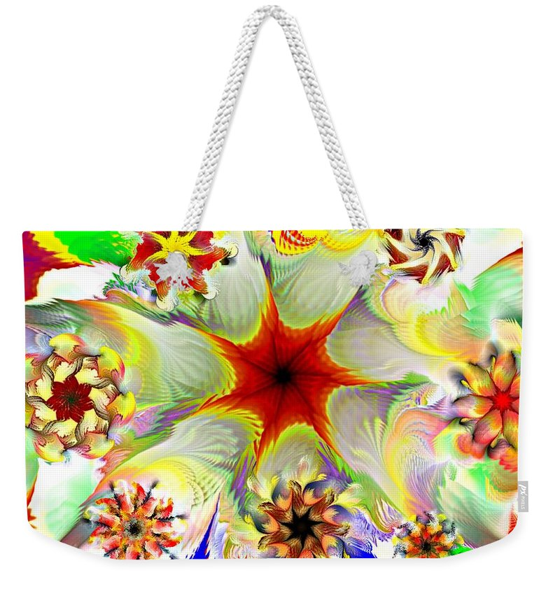 Abstract Digital Painting Weekender Tote Bag featuring the digital art Fractal Garden 9 by David Lane