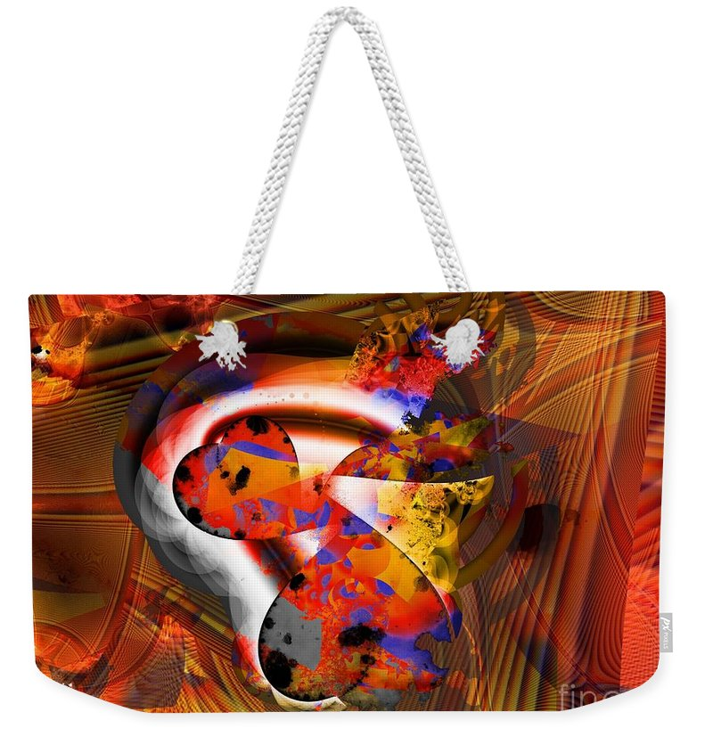 Heart Weekender Tote Bag featuring the digital art Fractal Heart by Ron Bissett