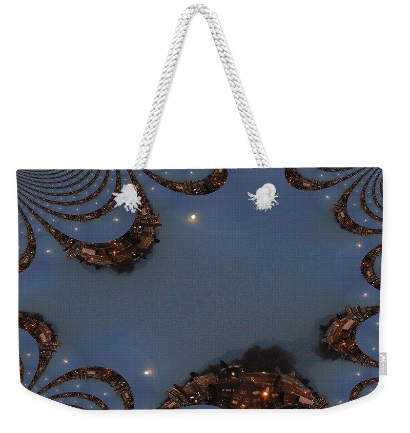 Moon Weekender Tote Bag featuring the digital art Fractal Moon by Tim Allen
