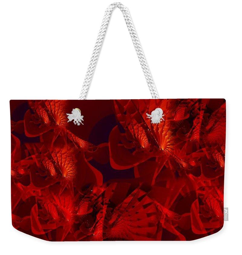 Fractal Weekender Tote Bag featuring the digital art Fractal Parapluie by Ron Bissett