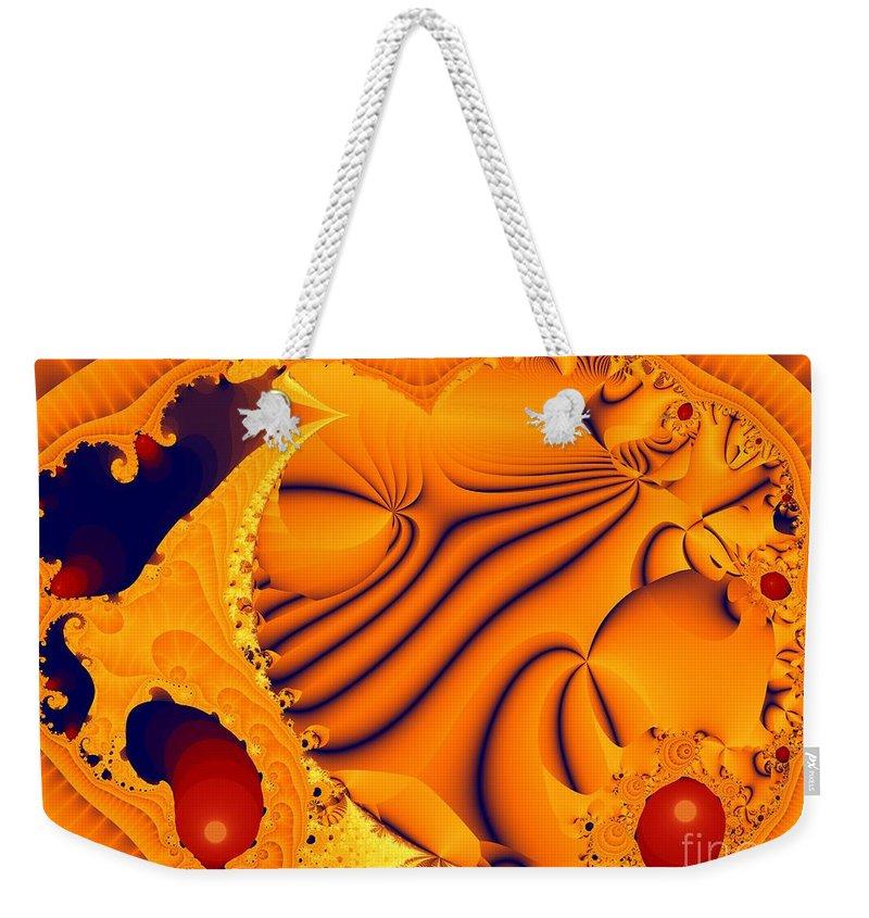 Fractal Art Weekender Tote Bag featuring the digital art Fractal Pool by Ron Bissett