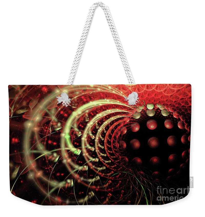 Fractal Weekender Tote Bag featuring the digital art Fractal Solar Flare by Ann Garrett