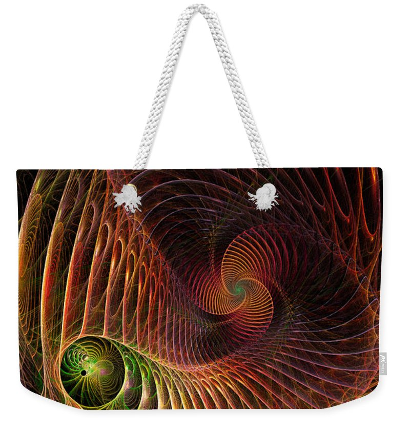 Fractal Abstract Weekender Tote Bag featuring the digital art Fractal Vortex by Ann Garrett